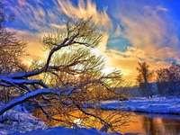 winter landscape - zima,rzeka,drzewa,zachód słońca