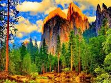 góry skąpane w słonicu - Krajobraz górski skąpany w słonicu w śrut pięknych drzew i otaczającej wody.