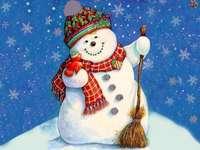 sněhulák - usmívající se, barevný sněhulák
