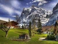 планини, къщи, пролет, поляна