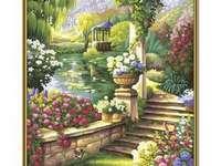 paradijselijke tuin - paradijselijke tuin, vegetatie, bloemen