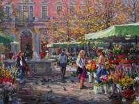 piață cu tarabe în oraș - piață cu tarabe în oraș