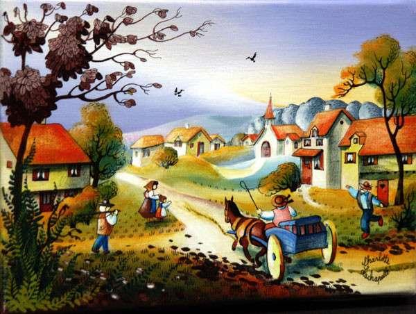 vidám kép a vidéki életről (10×10)