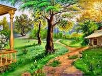 къща, тревна площ, вътрешен двор, дърво