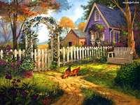 къща, двор, градина - къща, двор, пейка, градина