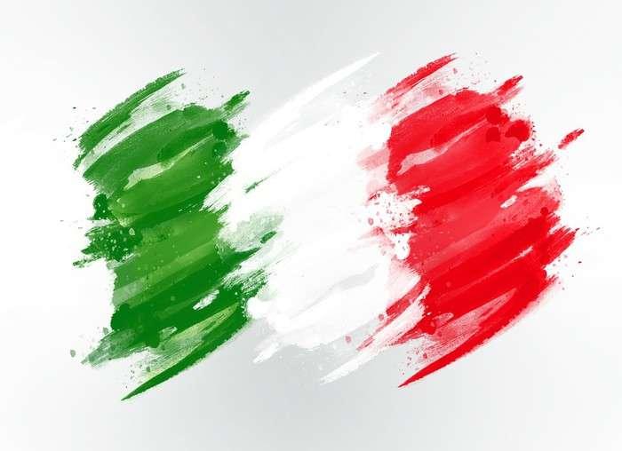Flagge von Italien - Italienische Flagge - ein Rechteck, das in drei vertikale Streifen unterteilt ist: Gruen, Weiss und Rot. Dreifarbige Streifen beziehen sich auf die Franzoesische Revolution und unterstreichen die Bede (10×10)