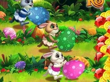 Conejitos de colores - Tres liebres y huevos de pascua