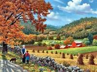Peisaj de toamnă - Bunicul, nepotul, peisajul toamnei