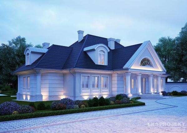 una gran casa - blanco, techo, verde, columnas (10×10)