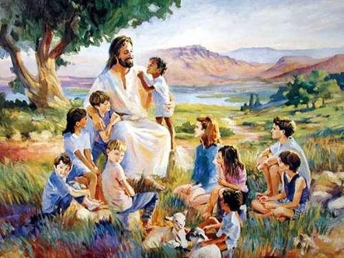 Jésus avec des enfants - Image représentant une figure de Jésus entourée d'enfants et parlant avec eux (4×3)
