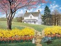 Huis in de weide, bloemen