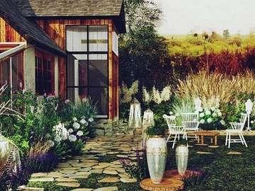 Gazebo, garden, path - Gazebo, garden, path, grass