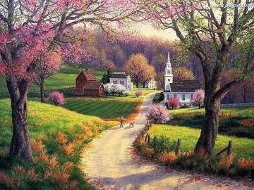 Road, blooming trees - Road, flowering trees, church