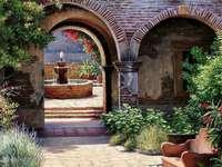 Terrazza, giardino, fontana
