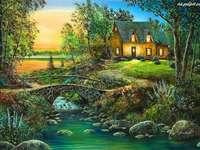 rivière, maison, pont