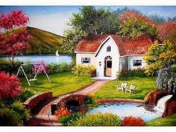 Cottage in the garden - Cottage in the garden, bridge, stream