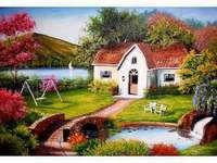 Hus i trädgården - Hus i trädgården, bron, bäcken
