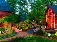 Landshus, trädgård, träd