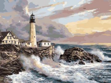 Latarnia morska - Ułóż obrazek przedstawiający latarnię.