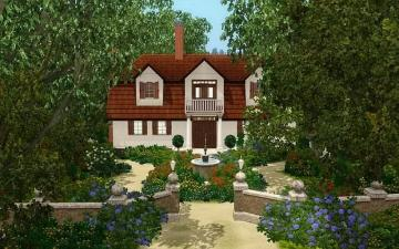 A house with a red roof - Cottage among trees with garden and alley