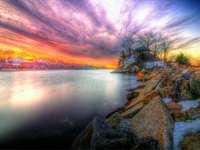 tenger, föld, naplemente