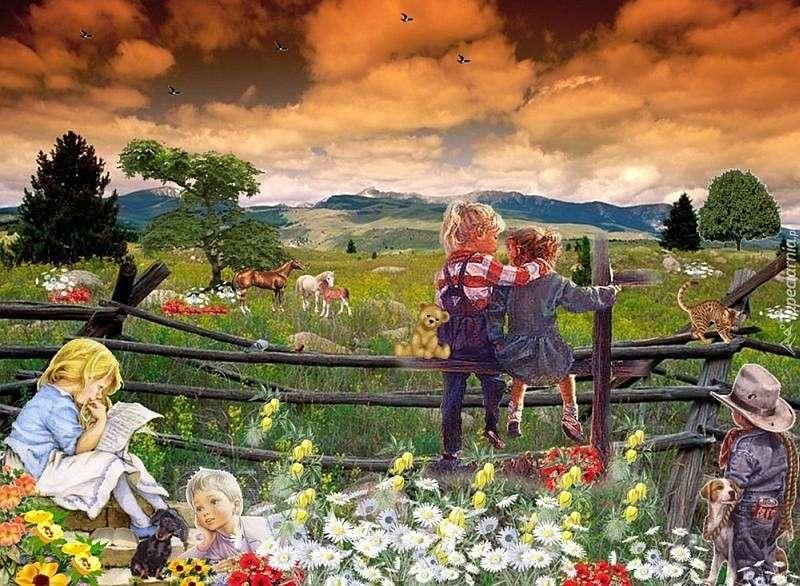 Dzieci,łąka,zwierzęta
