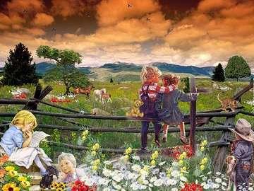 Children, meadow, animals - Children, meadow, animals