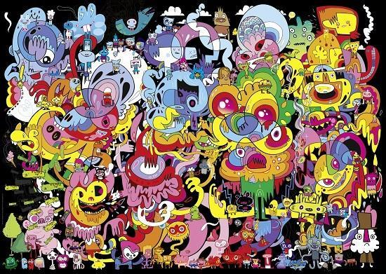 Psychedelic Doodle - Psychedelic Doodle is the work of Jon Burgerman, which is an intriguing tangle of scribbles in which you can see the bizarre characters. The illustration makes an extraordinary impression primarily du (9×9)