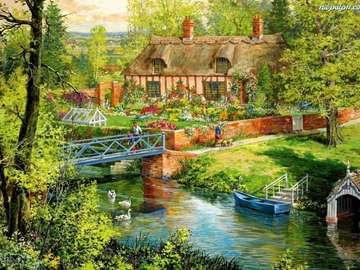 Domek nad rzeczką - Krajobraz, na którym widnieje dom z ogródkiem. W ogródku widać ogrodnika oraz szklarnię. W pobl