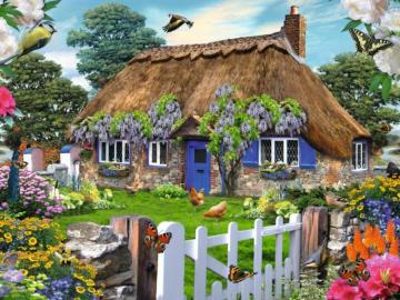 Cottage with thatched roofs an - A cottage with thatched roofs entwined with a wisteria