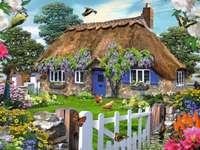 Cabana cu paie cu glică - Cabană cu wisteria de acoperiș de paie
