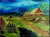 Tidigare by, bigård - Kojor med halmtak, bigård, väg, storm