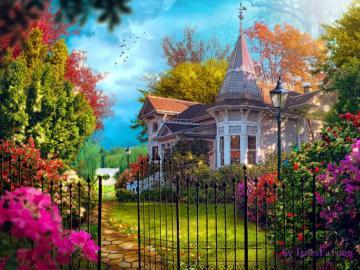 casa blanca, valla, flores - Casa blanca, árboles y flores detrás de la puerta.