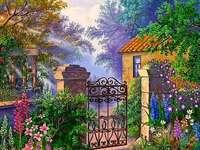 En wicket till den färgglada trädgården