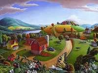 Festői falu, hegyek - Festői falu a hegyek között