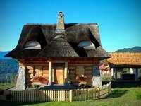 Cottage con tetti di paglia
