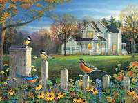 Cottage with a fence and birds - Cottage with a fence and birds