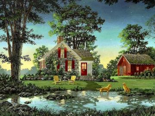 Cottage, dogs in the pond - Cottage, dogs in the pond
