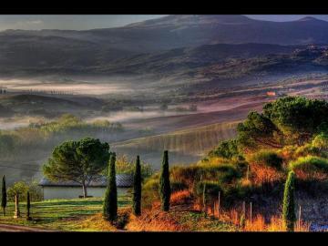 Toscana Italien landskap - Tuscany landskap i gryningen