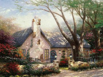 ein Landhaus im Garten - Ein Häuschen im Garten unter Bäumen