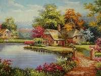 Hus vid dammen bland träd - Hus vid dammen bland träd