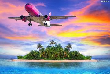 Pink airplane over the ocean - Pink plane over the island on the ocean