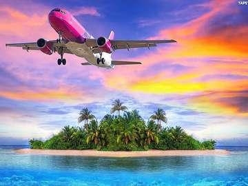 Aeroplano rosa sopra l'oceano - Rosa aereo sopra l'isola sull'oceano