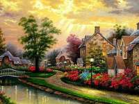 Houses by the river with a bri - Painted Village. Houses by the river with a bridge. Puzzle: painted village.