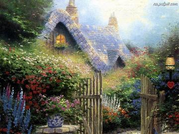 Magiczny dom - Magiczna sceneria przedstawiająca domek w otoczeniu bujnej roślinności. Do domu prowadzi otwarta,