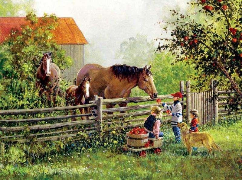 Jesień na wsi - Scenka rodzajowa przedstawiająca dzieci  z zebranymi  jabłkami i konie przy ogrodzeniu