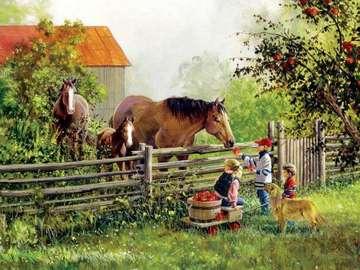 Autunno in campagna - Uno scenario di genere raffigurante bambini con mele e cavalli raccolti al recinto