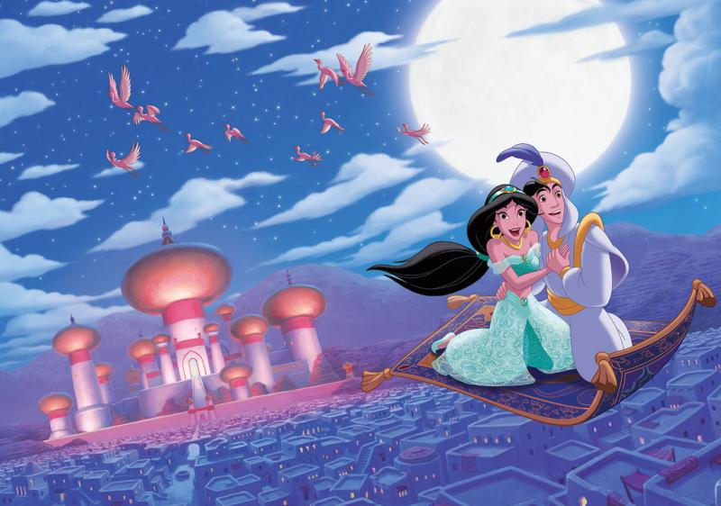 Aladdin a Jasmine - Celovečerní animovaný film z roku 1992 produkoval Walt Disney Pictures, třicátý první film z kánonu animovaných filmů Disney. Je to bezplatná adaptace příběhu Aladina a magické lampy z (6×5)