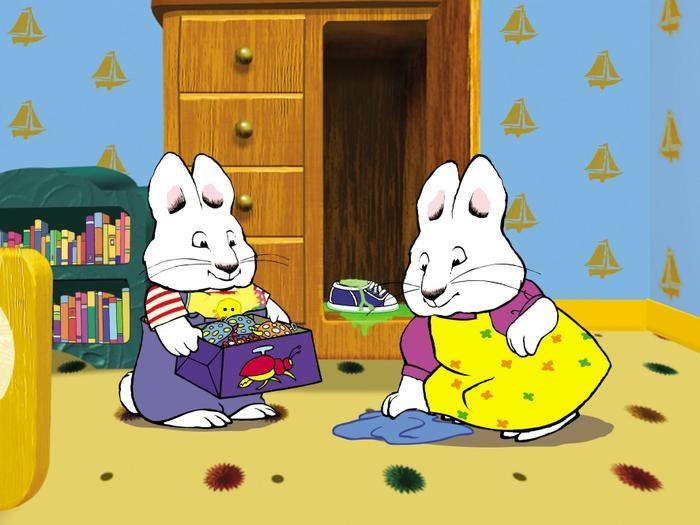 Max y ruby - Maks es un conejito y vive en una ciudad de conejos. Le encanta ensuciar y hacer travesuras. Su hermana mayor Ruby es completamente diferente: a ella le importa el orden, es educada y educada (Maks cr (5×4)