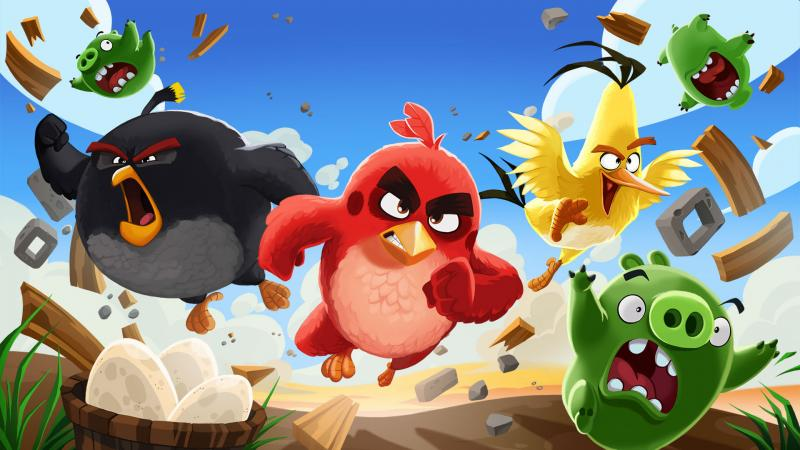 Angry Birds - Players take control of a flock of birds trying to retrieve the eggs they have stolen from the evil green pigs. At each level, pigs are shielded by structures made of various materials, such as wood, (9×8)